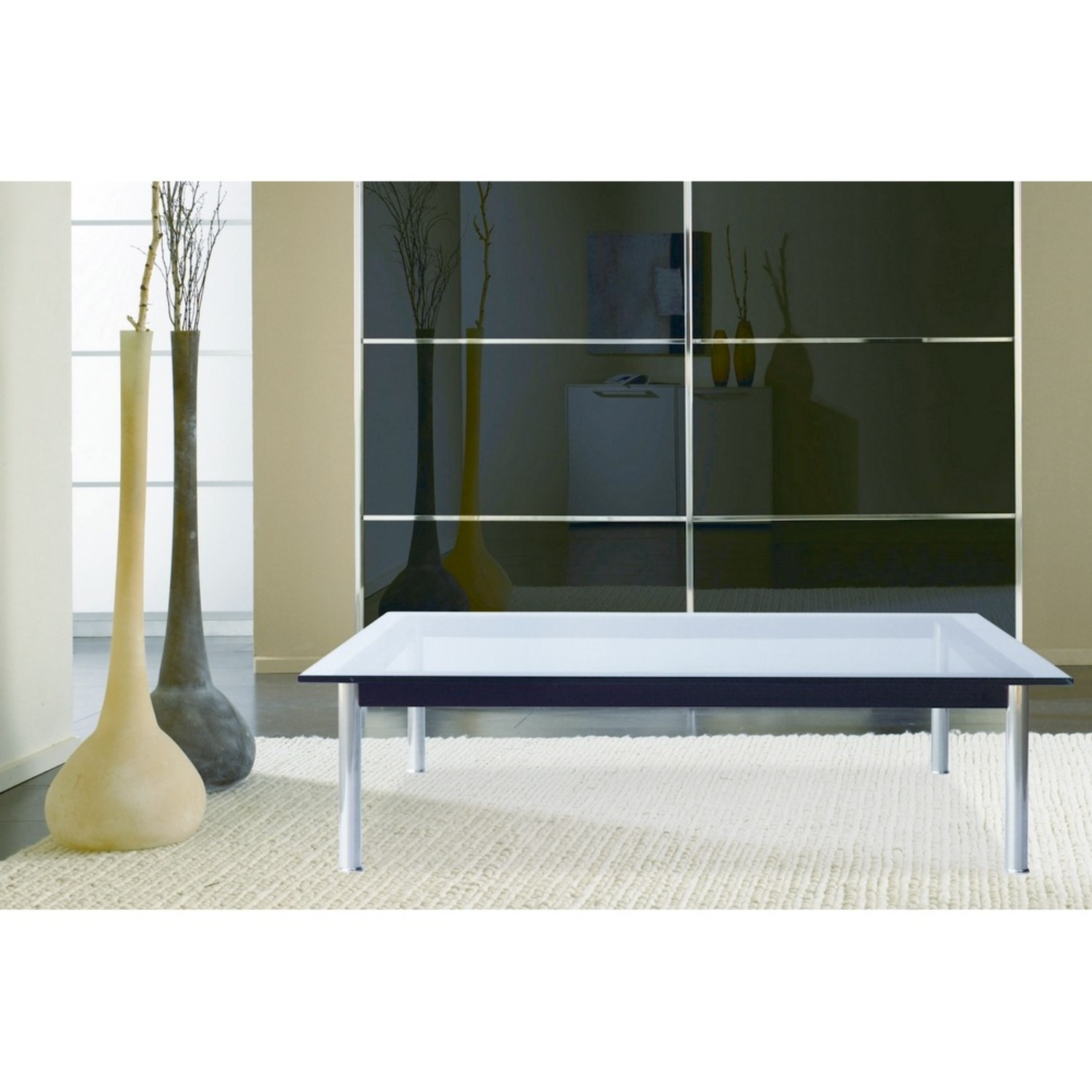 Coffee Table In Clear Chrome Finish W/ Glass Top - image-6