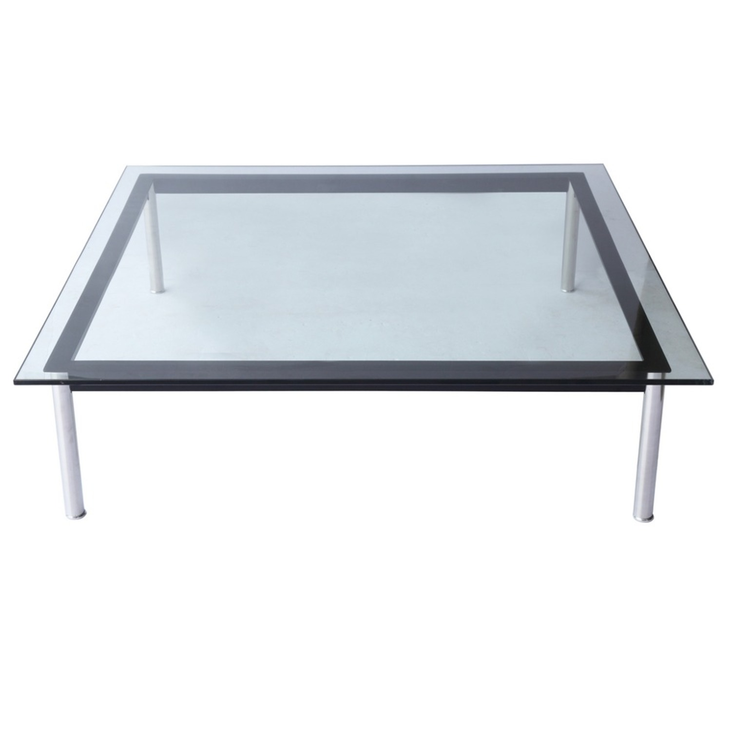 Coffee Table In Clear Chrome Finish W/ Glass Top - image-1