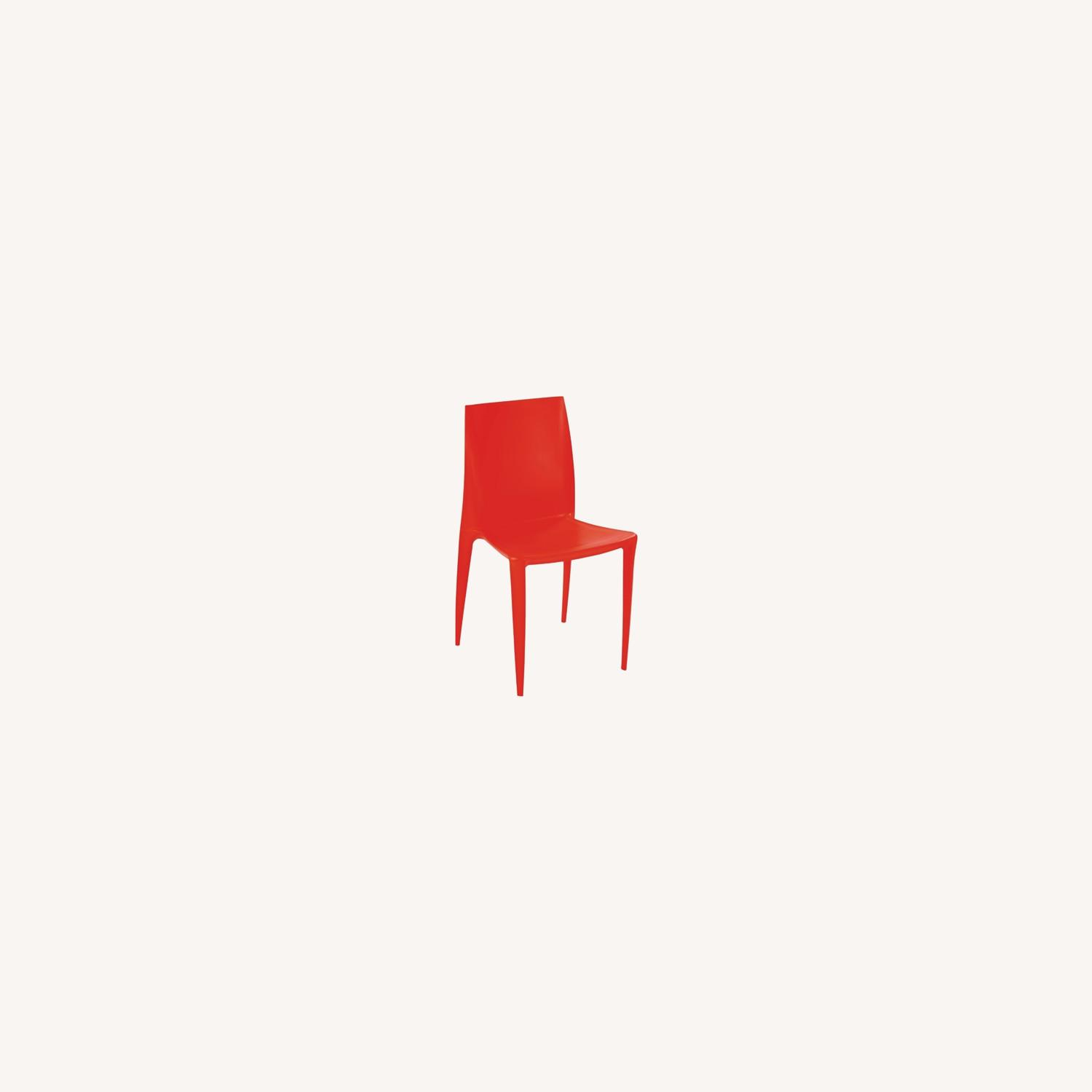 Dining Chair In Square-Shaped Orange Finish - image-3