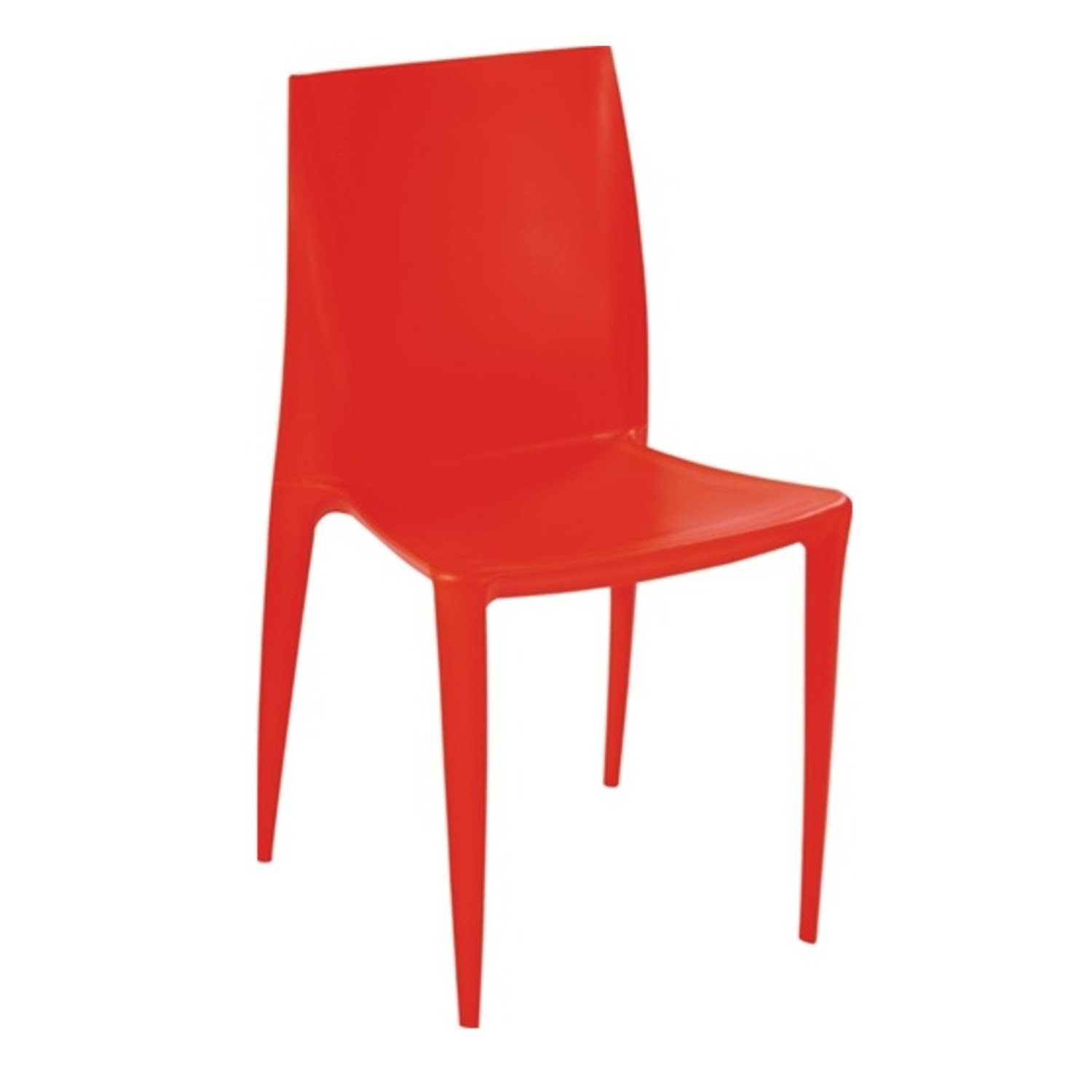 Dining Chair In Square-Shaped Orange Finish - image-1