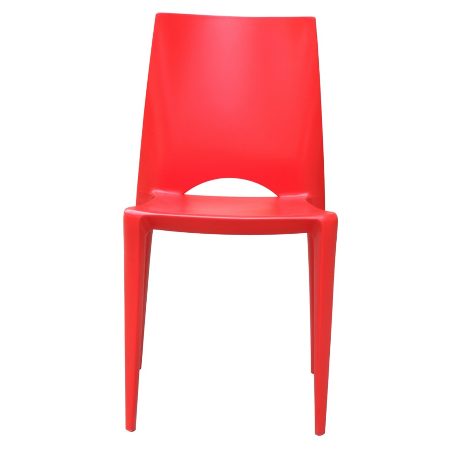 Dining Chair In Square-Shaped Red Finish - image-5