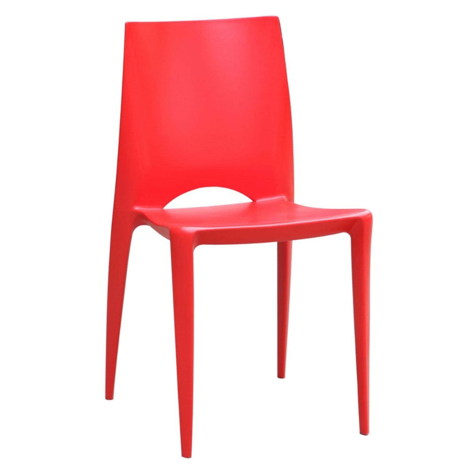 Dining Chair In Square-Shaped Red Finish - image-0
