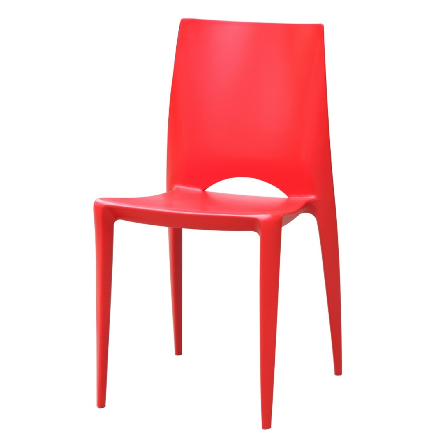 Dining Chair In Square-Shaped Red Finish - image-4