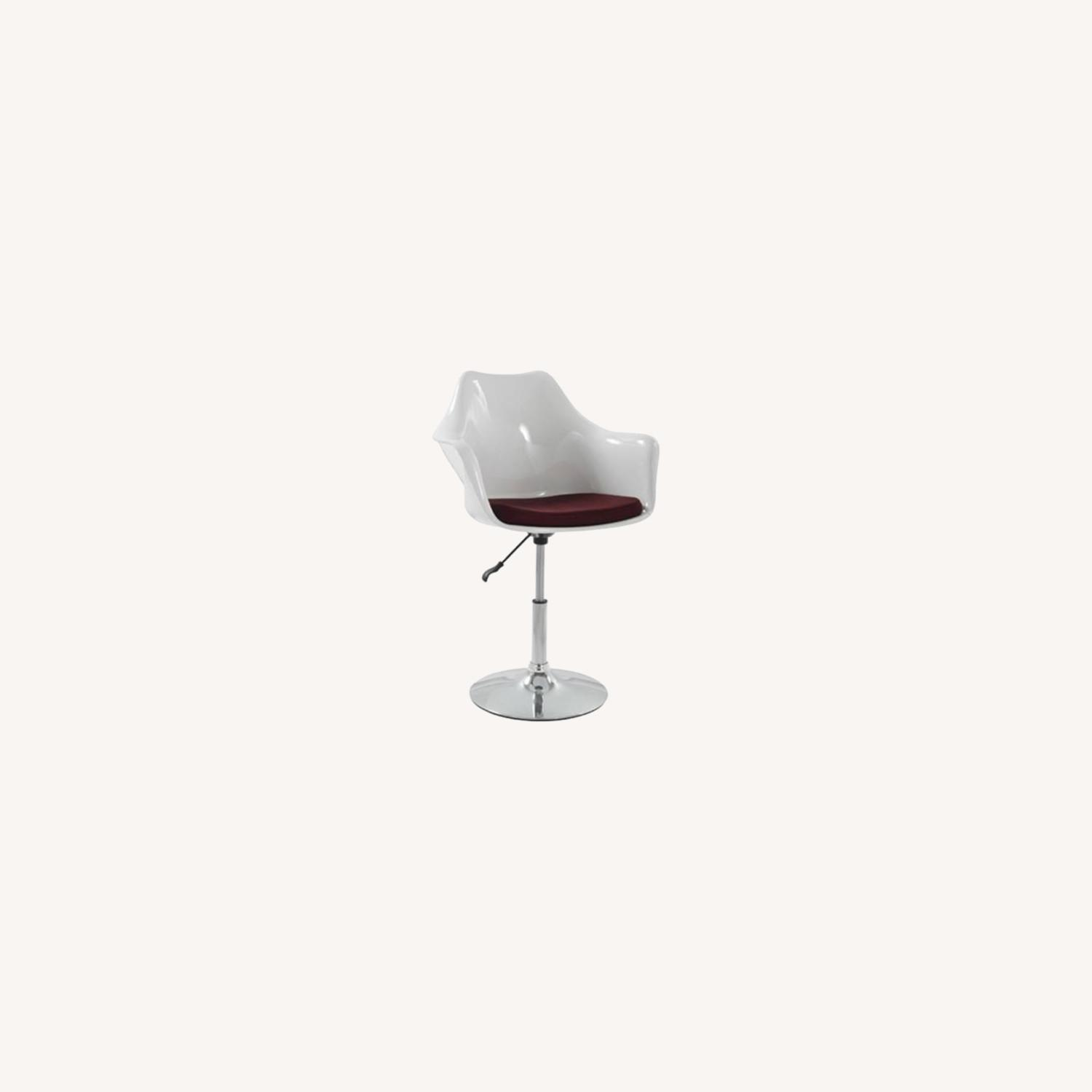 Height-Adjustable Swivel Arm Chair In White ABS - image-3