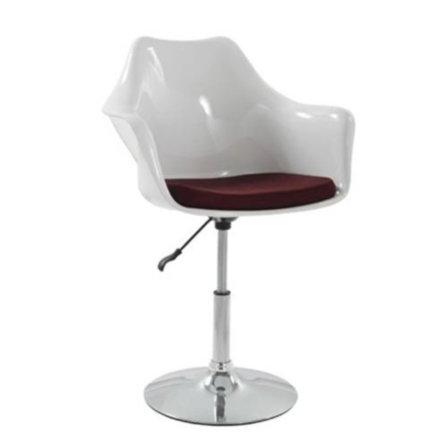 Height-Adjustable Swivel Arm Chair In White ABS - image-1