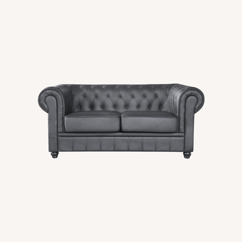Modern Loveseat In Soft Black Leatherette - image-7