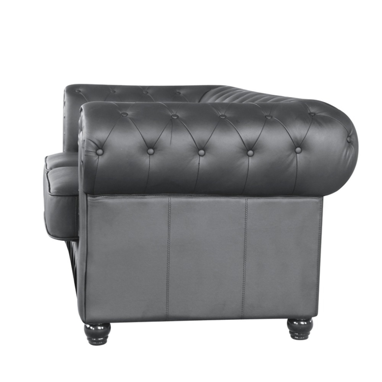 Modern Loveseat In Soft Black Leatherette - image-3