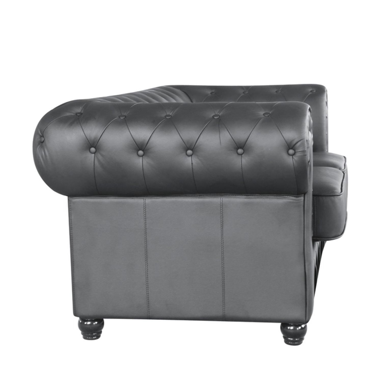 Modern Loveseat In Soft Black Leatherette - image-1