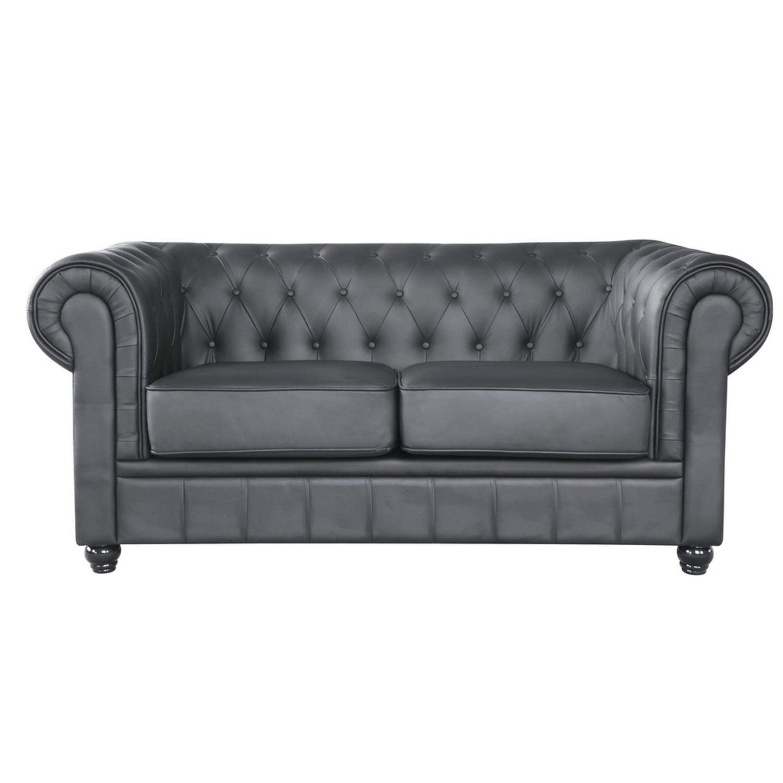 Modern Loveseat In Soft Black Leatherette - image-5