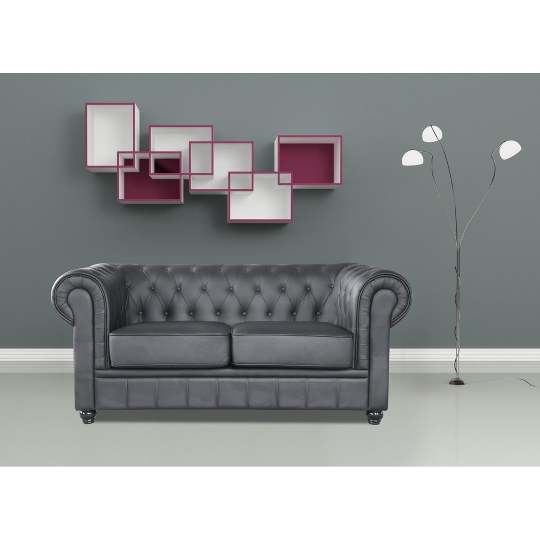 Modern Loveseat In Soft Black Leatherette - image-6