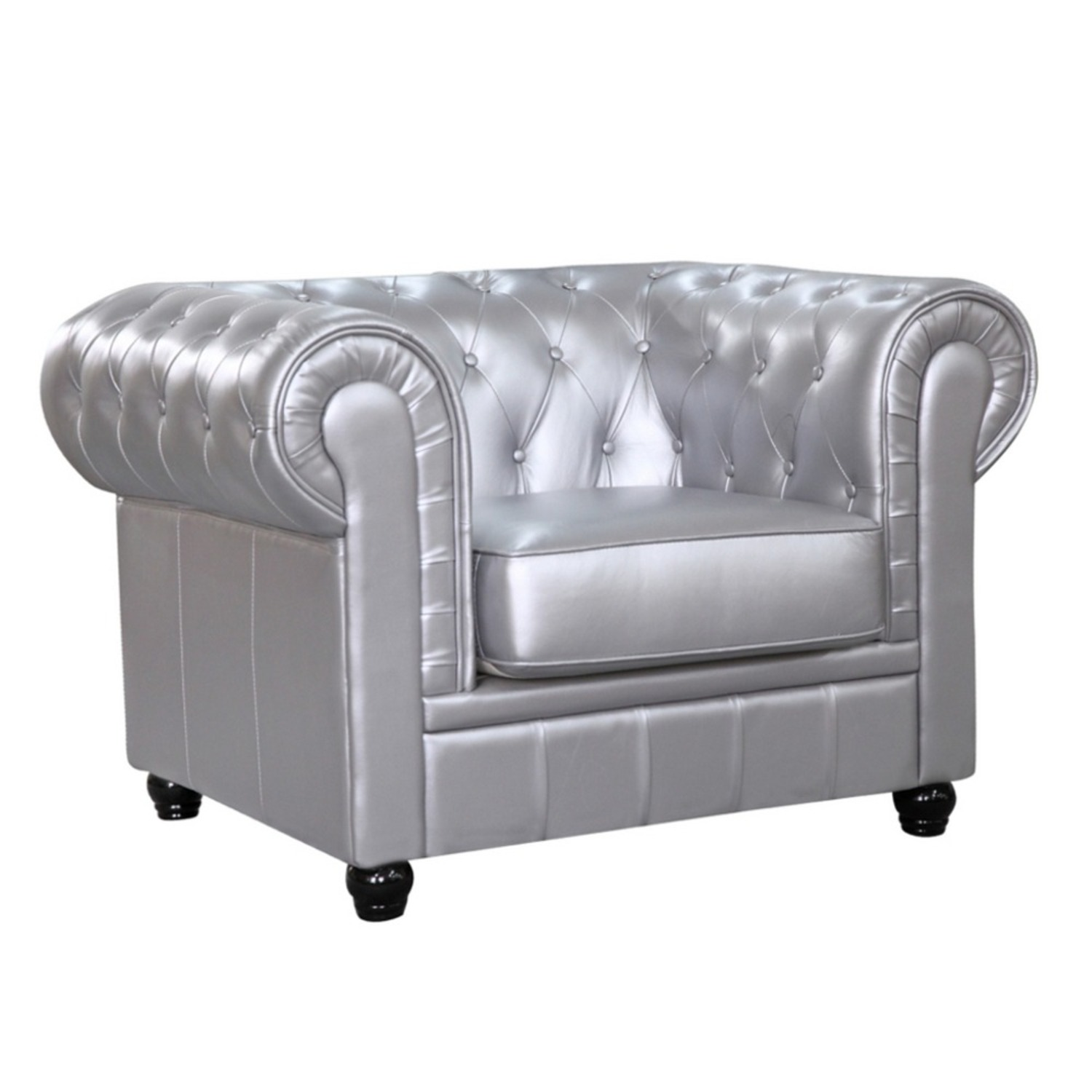 Modern Chair In Soft Silver Leatherette - image-0