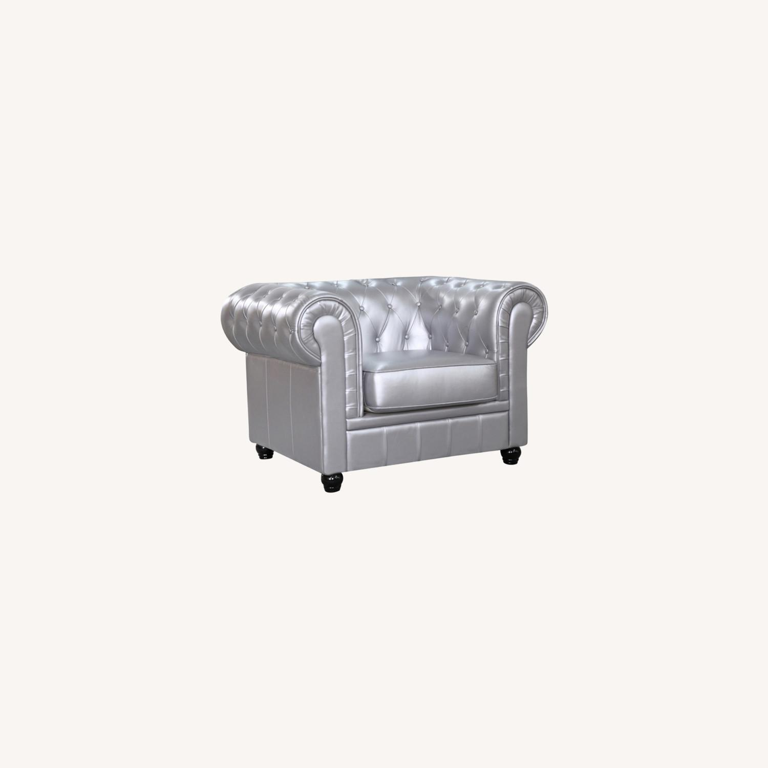 Modern Chair In Soft Silver Leatherette - image-6