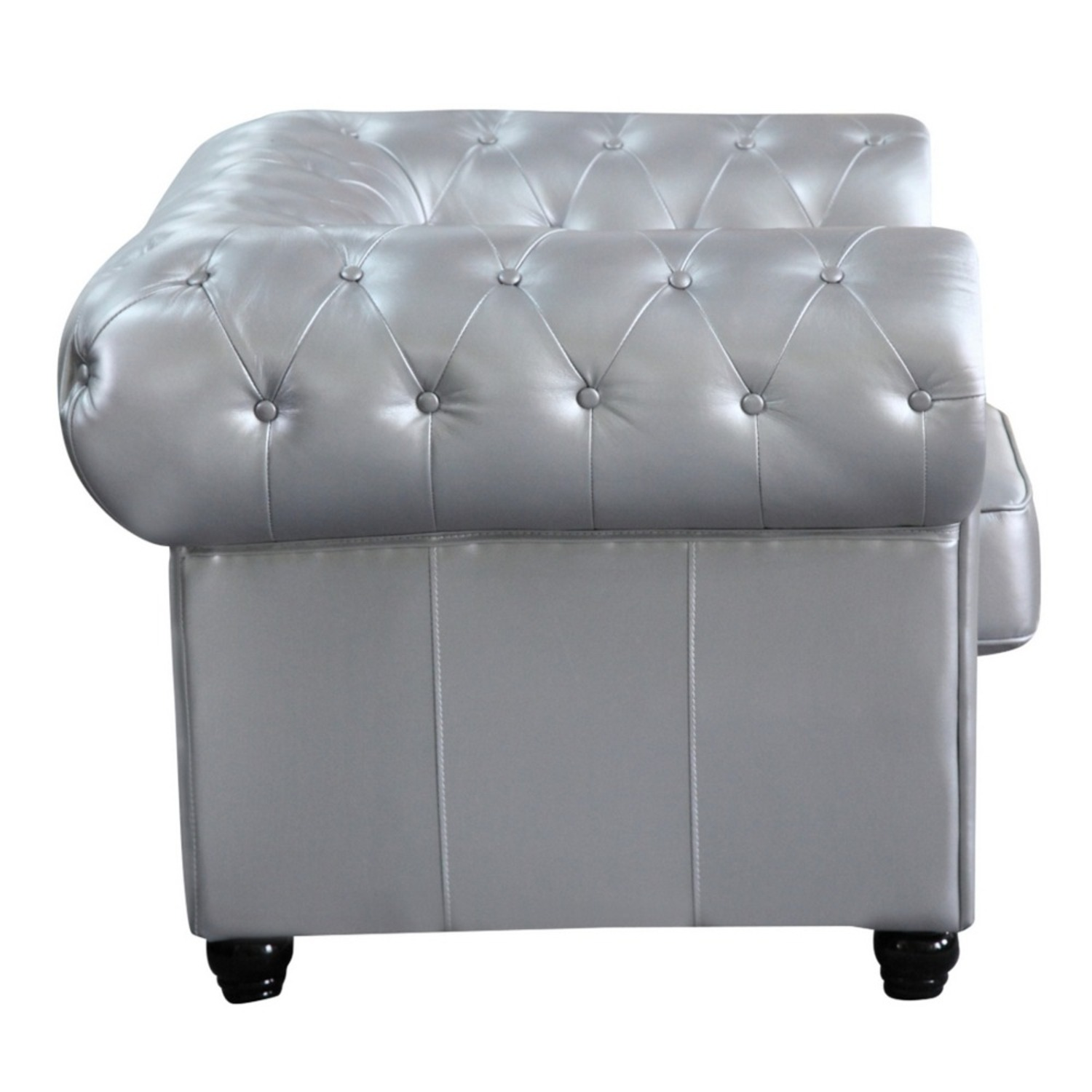 Modern Chair In Soft Silver Leatherette - image-1