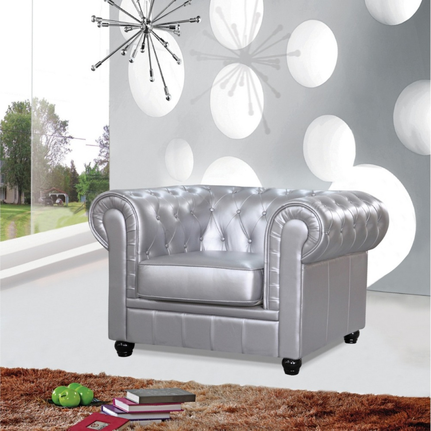 Modern Chair In Soft Silver Leatherette - image-5