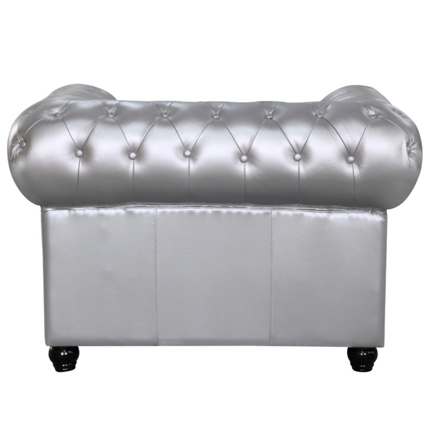 Modern Chair In Soft Silver Leatherette - image-2