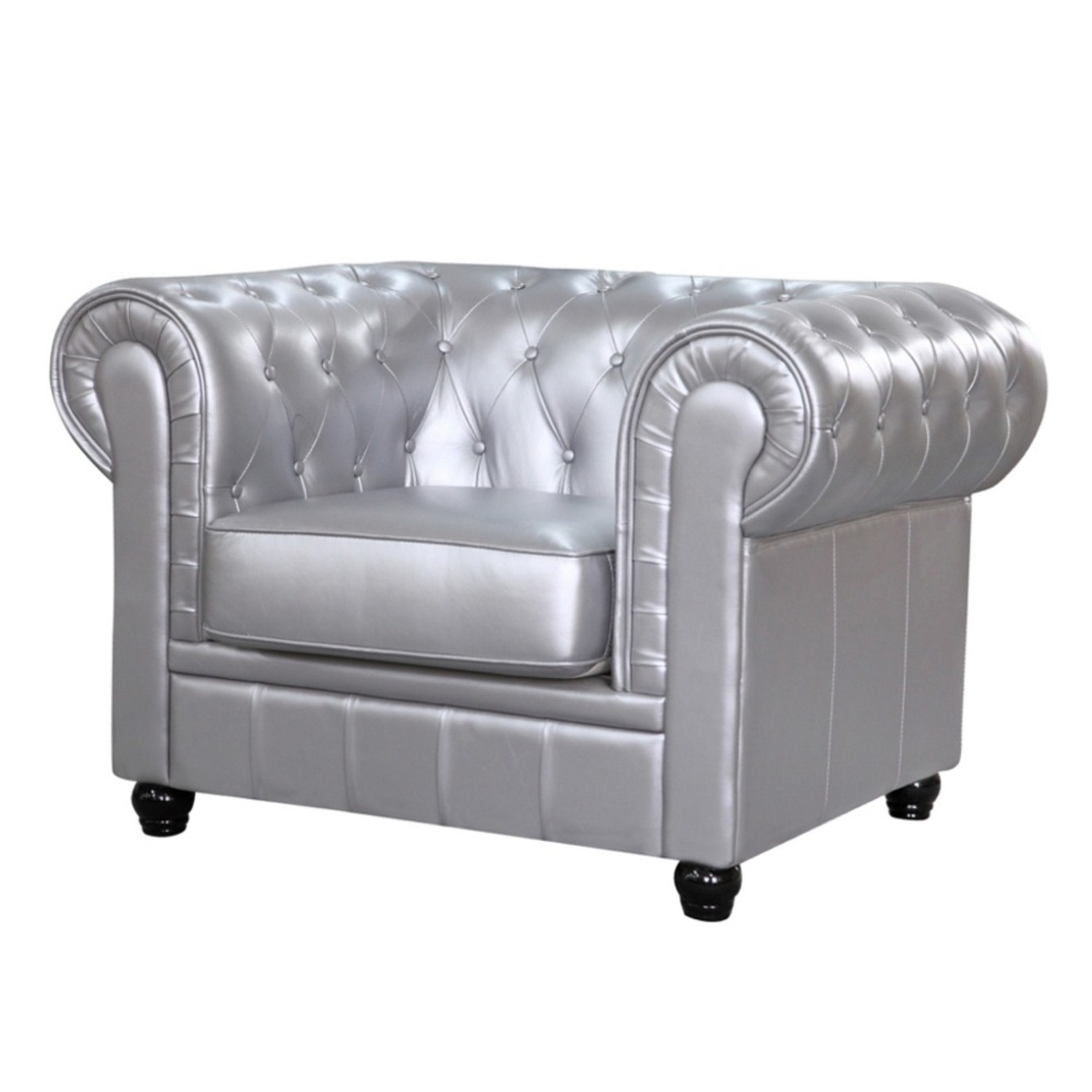 Modern Chair In Soft Silver Leatherette - image-4