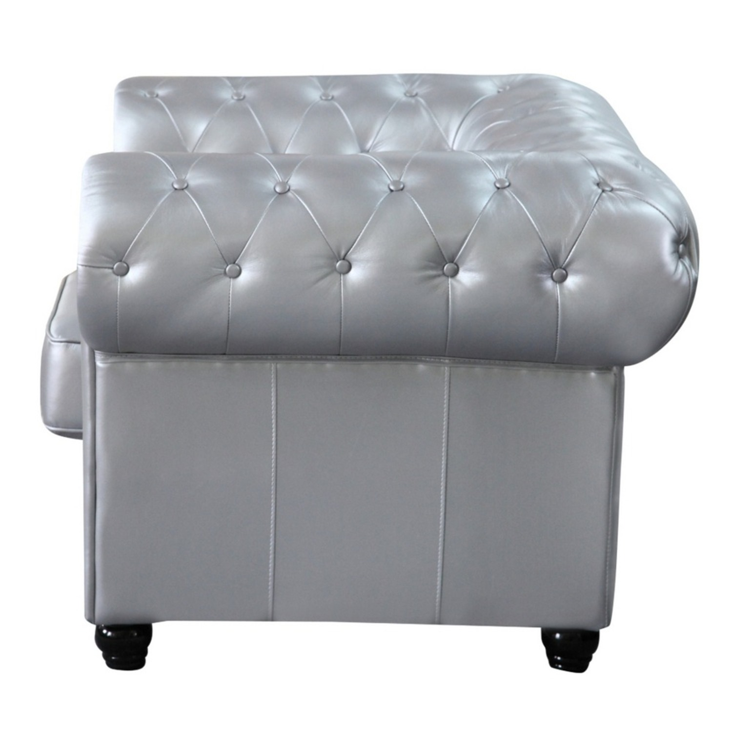 Modern Chair In Soft Silver Leatherette - image-3