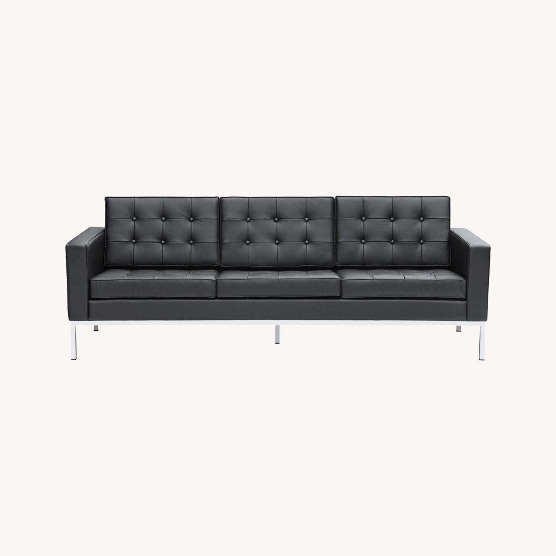 Modern Sofa In Black Italian Leather - image-7