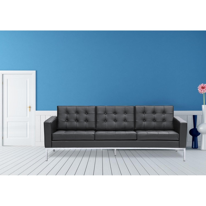 Modern Sofa In Black Italian Leather - image-6
