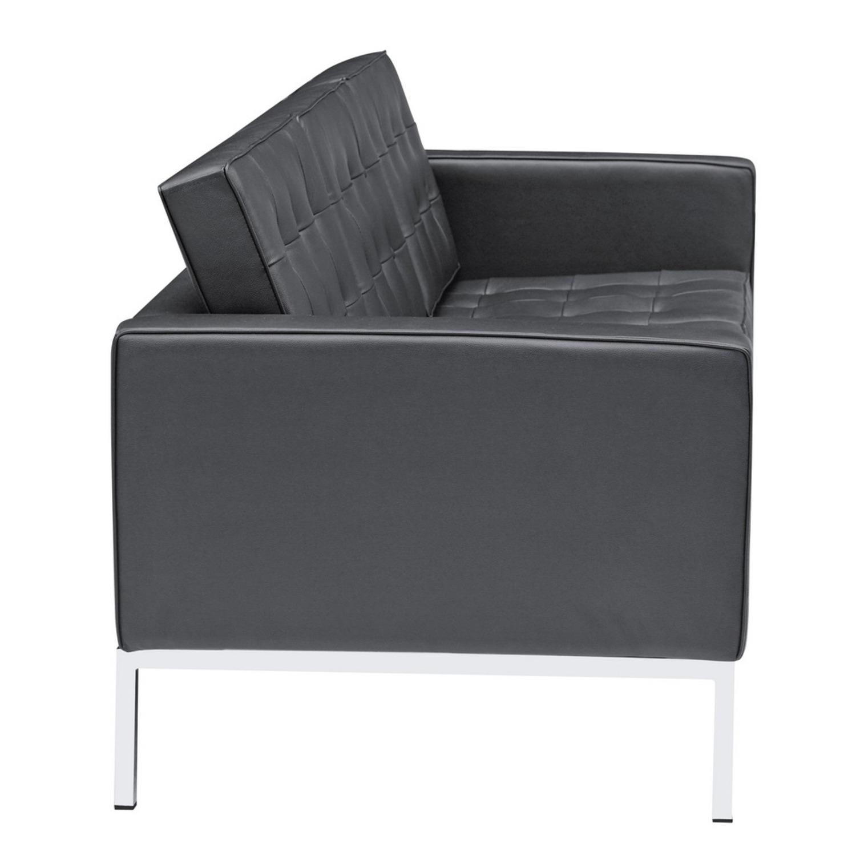 Modern Sofa In Black Italian Leather - image-1