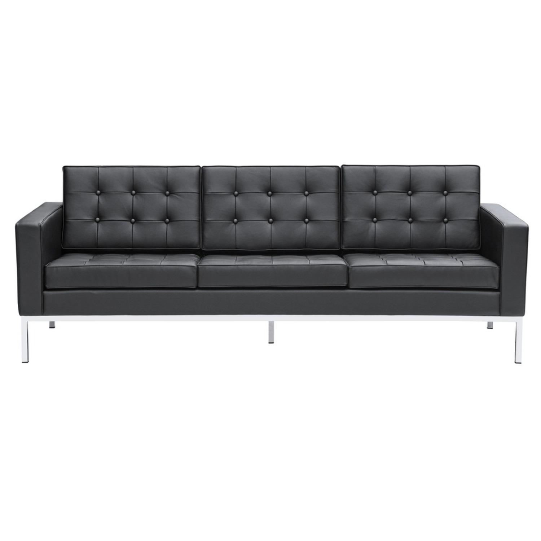 Modern Sofa In Black Italian Leather - image-5