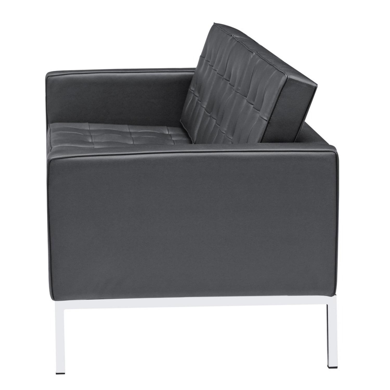 Modern Sofa In Black Italian Leather - image-3