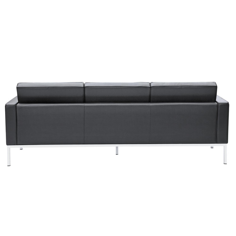 Modern Sofa In Black Italian Leather - image-2