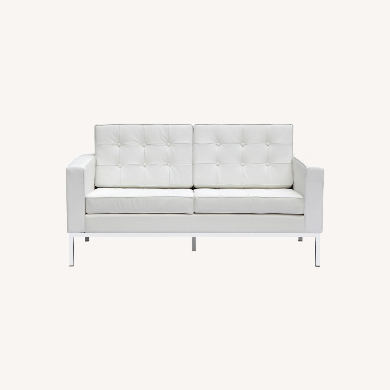Modern Loveseat In White Italian Leather - image-7