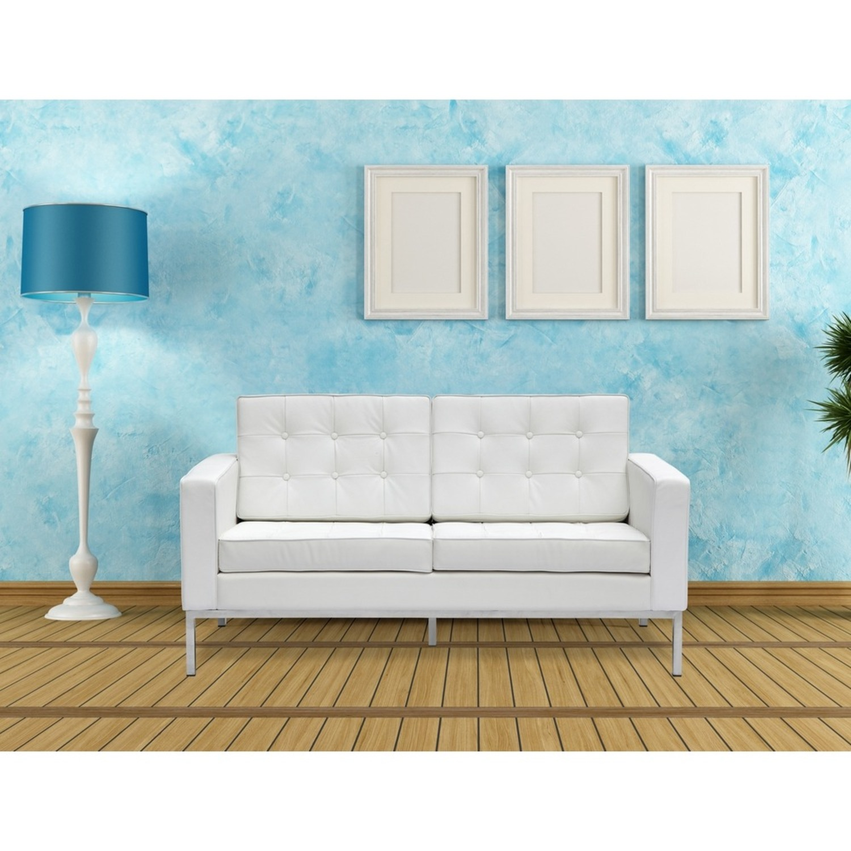 Modern Loveseat In White Italian Leather - image-6