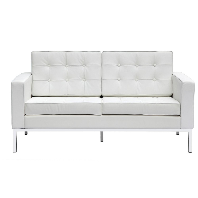 Modern Loveseat In White Italian Leather - image-5