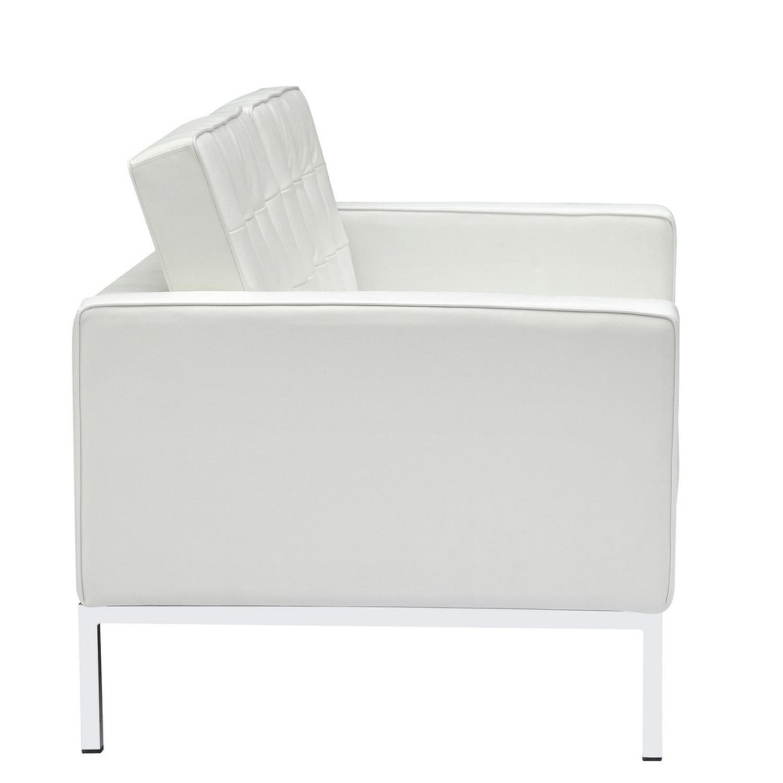 Modern Loveseat In White Italian Leather - image-1