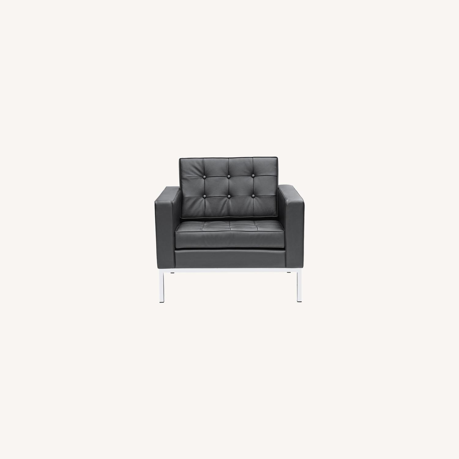 Modern Arm Chair In Black Italian Leather - image-7