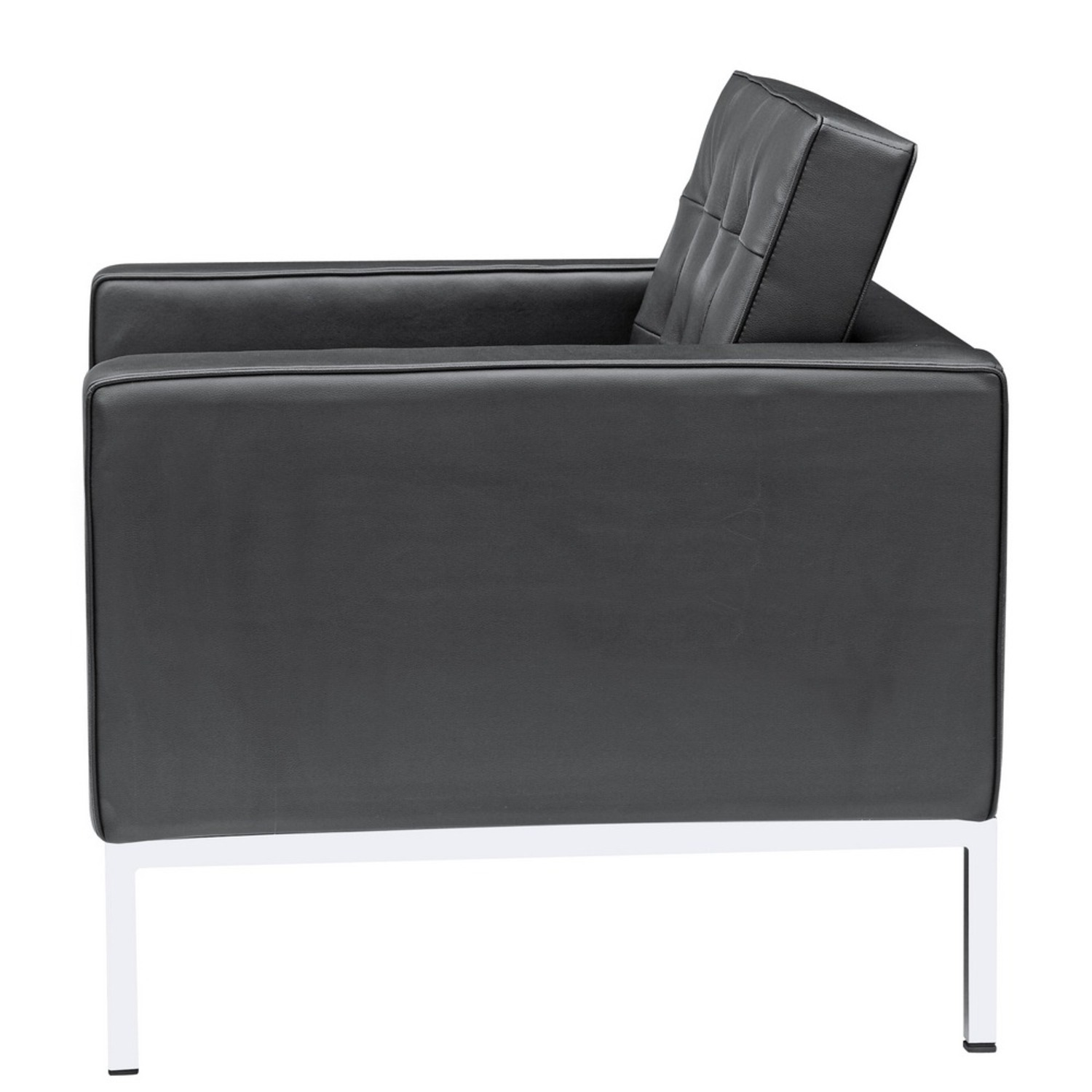 Modern Arm Chair In Black Italian Leather - image-3