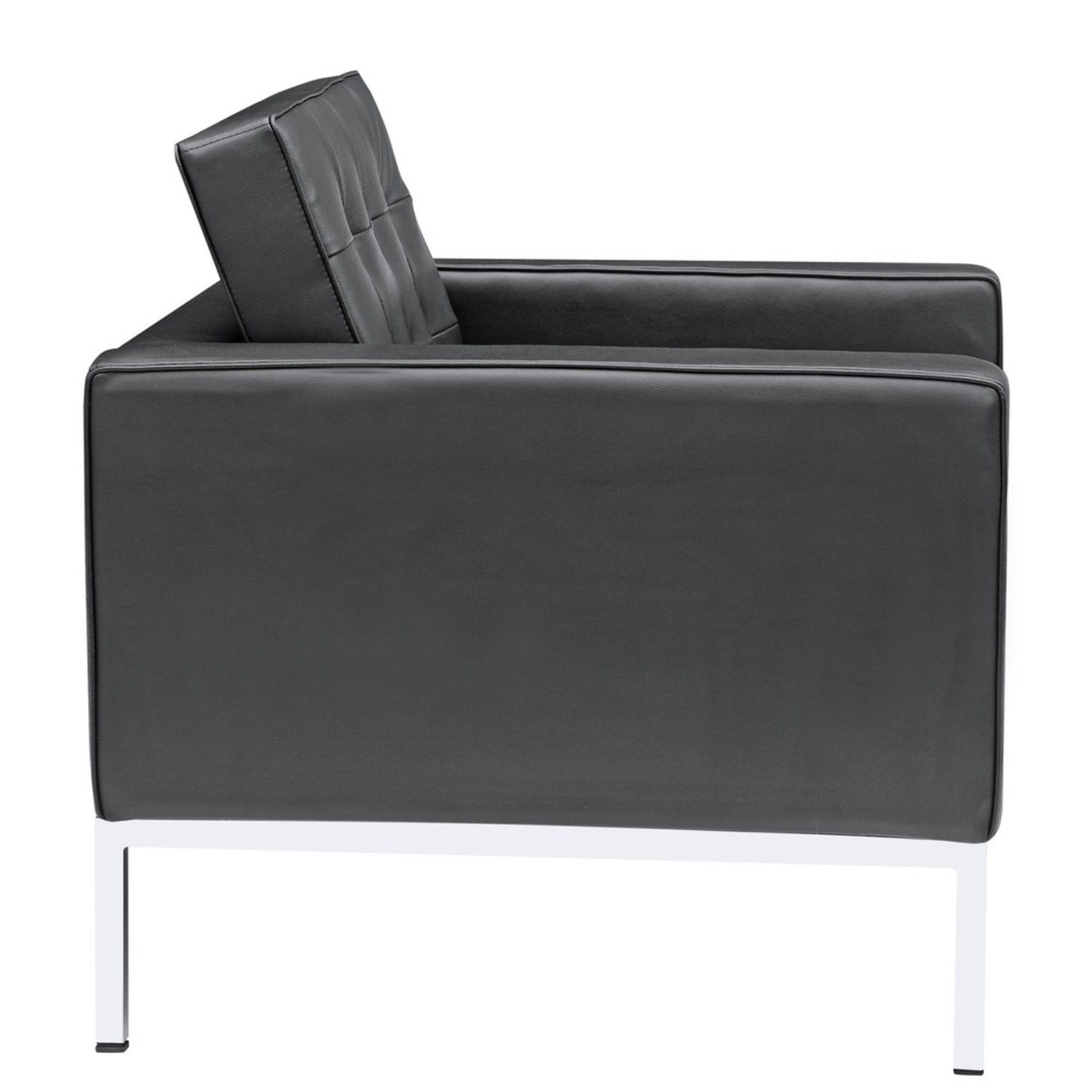 Modern Arm Chair In Black Italian Leather - image-1