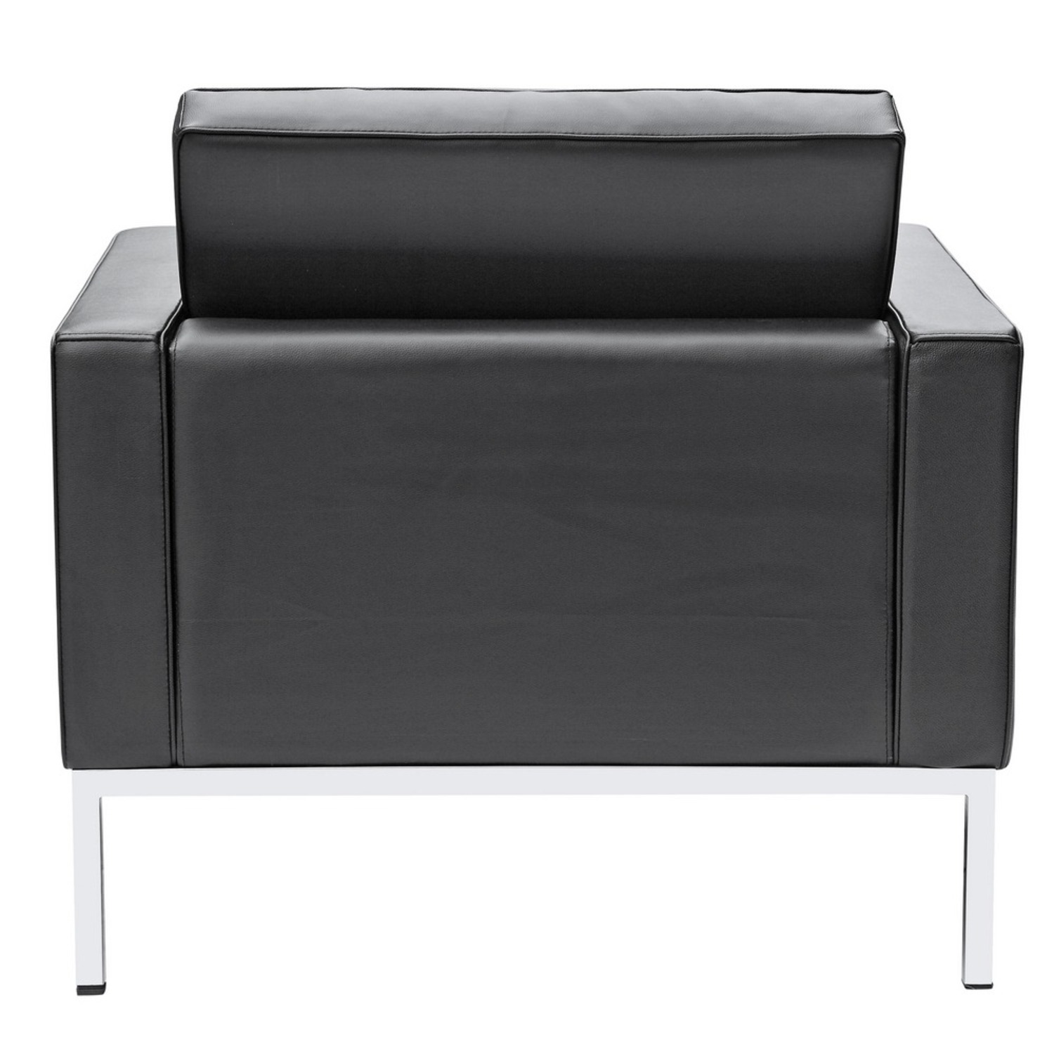 Modern Arm Chair In Black Italian Leather - image-2