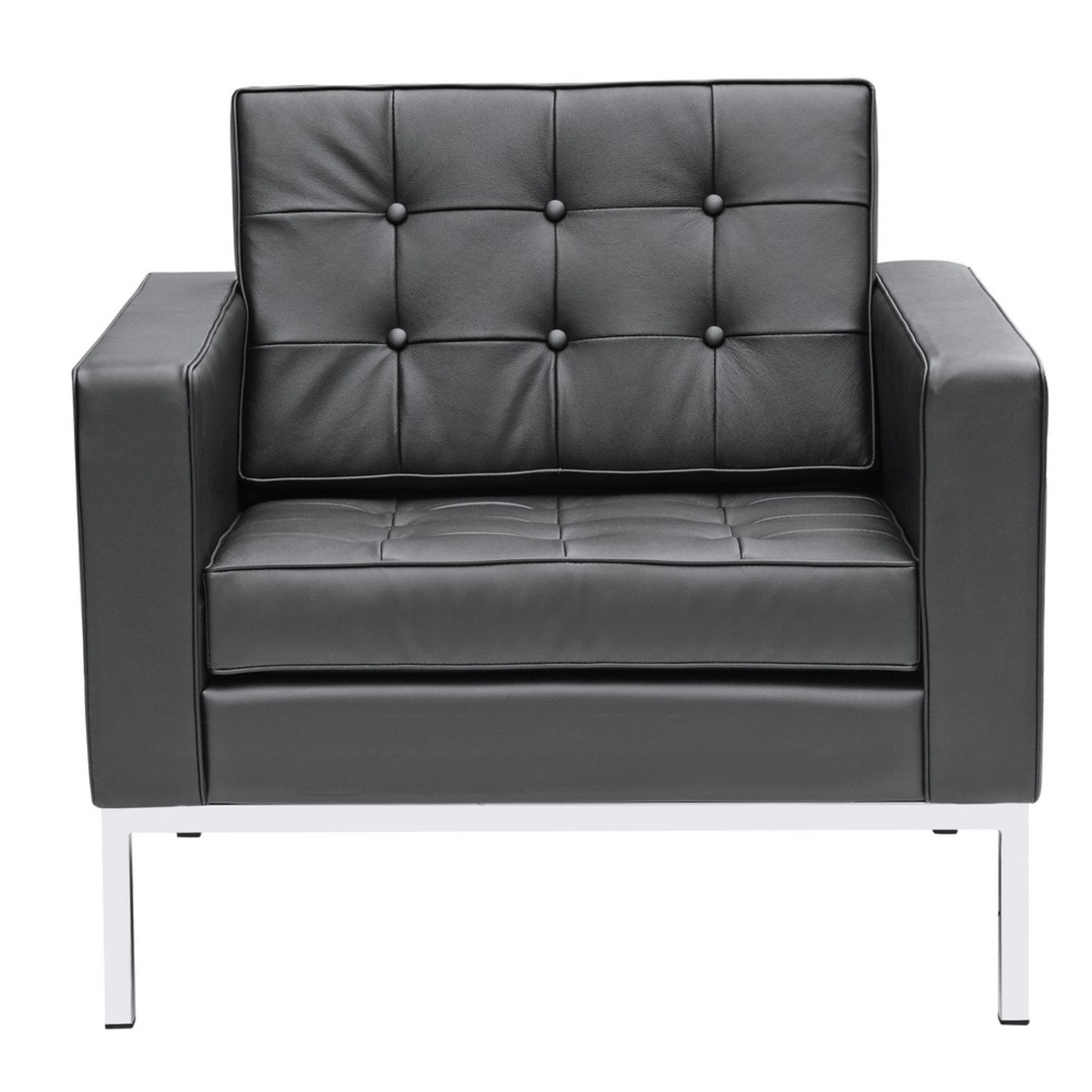 Modern Arm Chair In Black Italian Leather - image-5