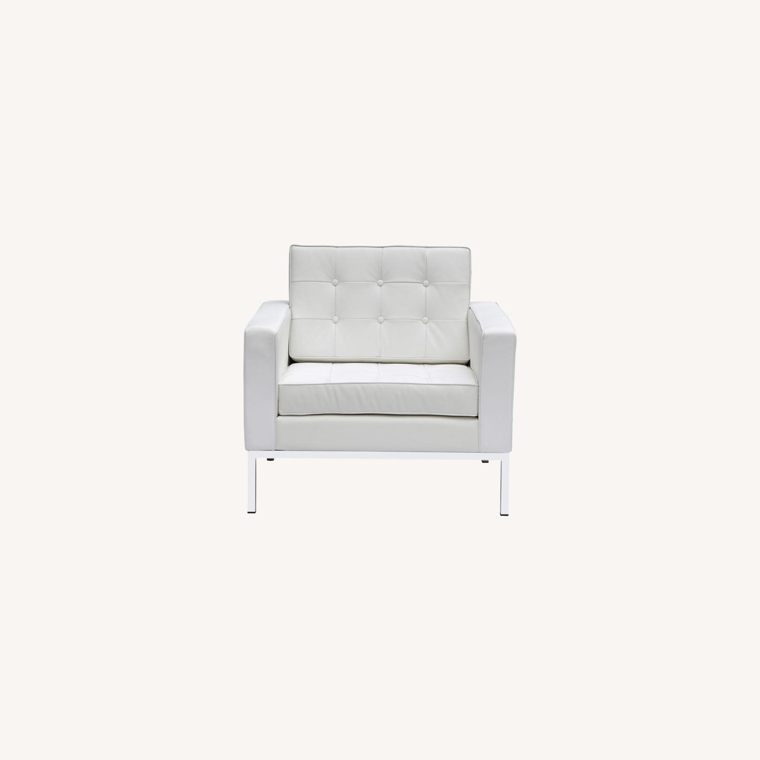 Modern Arm Chair In White Italian Leather - image-7