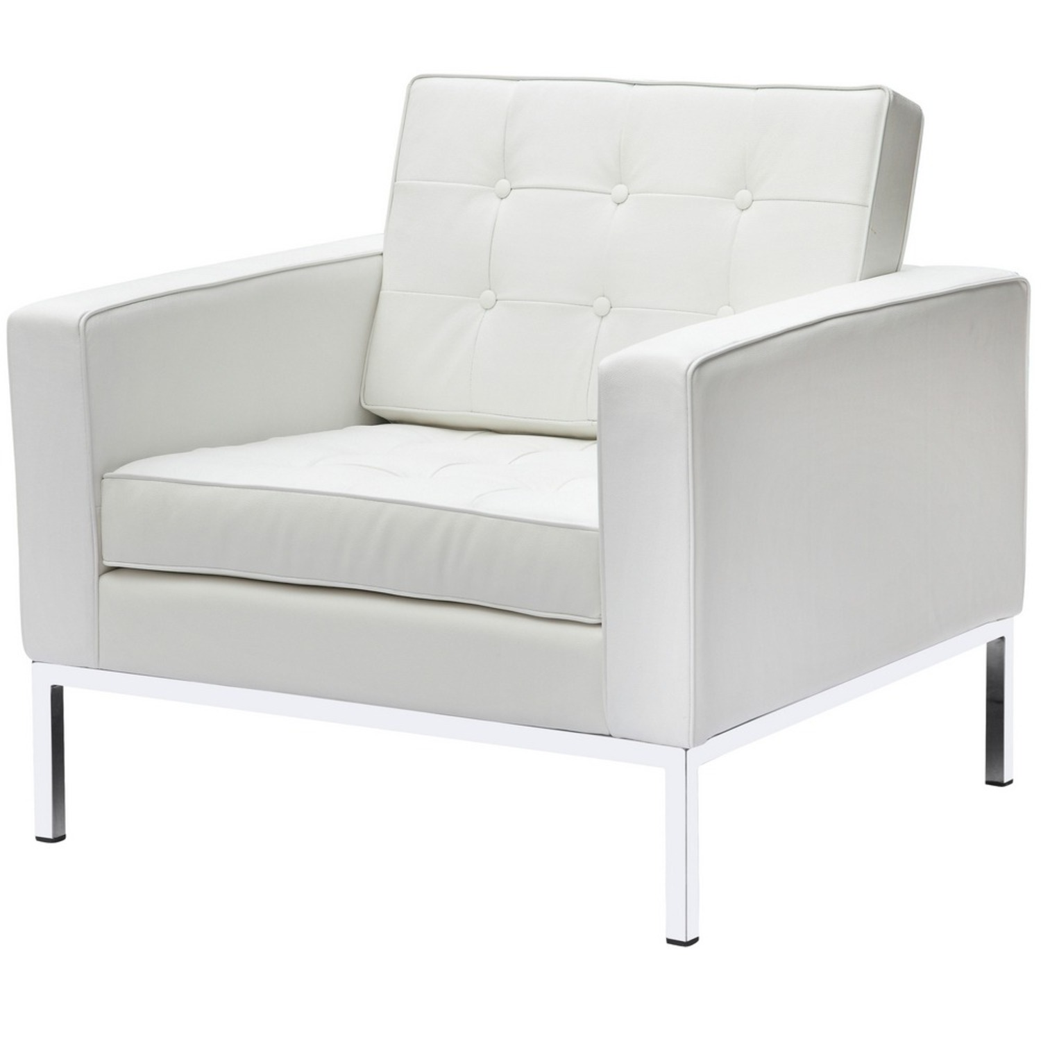 Modern Arm Chair In White Italian Leather - image-4