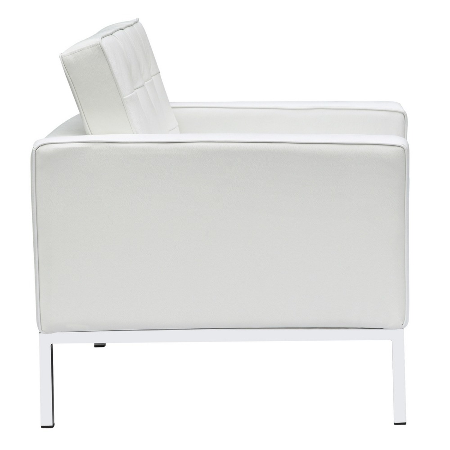 Modern Arm Chair In White Italian Leather - image-1