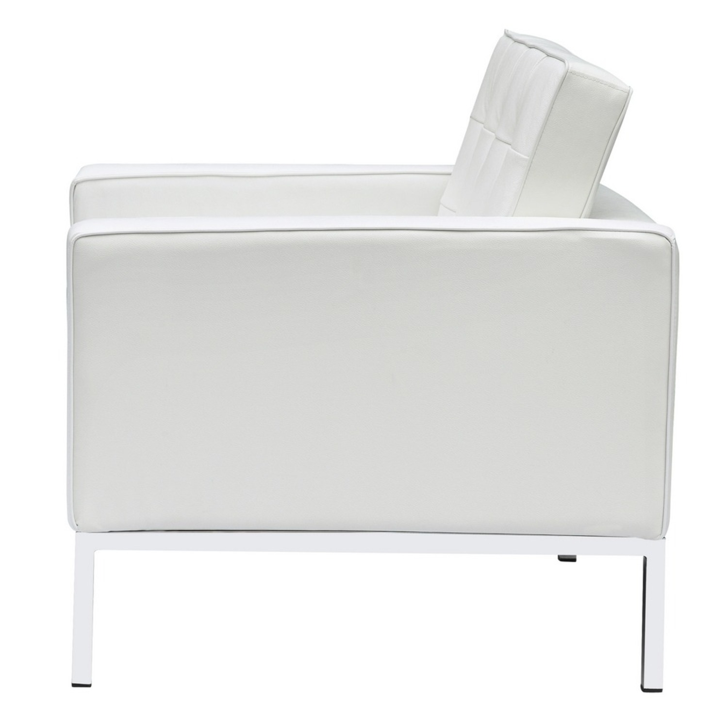 Modern Arm Chair In White Italian Leather - image-3
