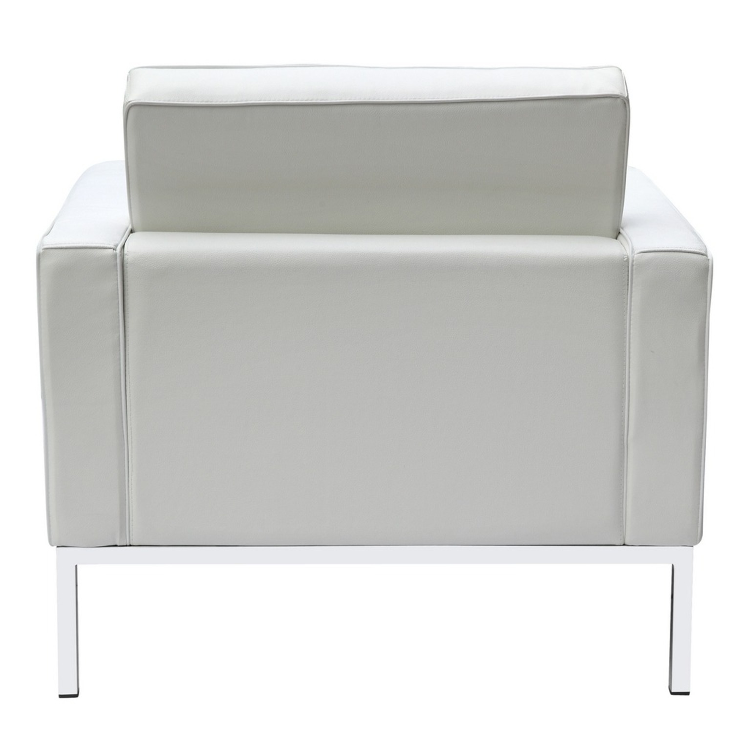 Modern Arm Chair In White Italian Leather - image-2
