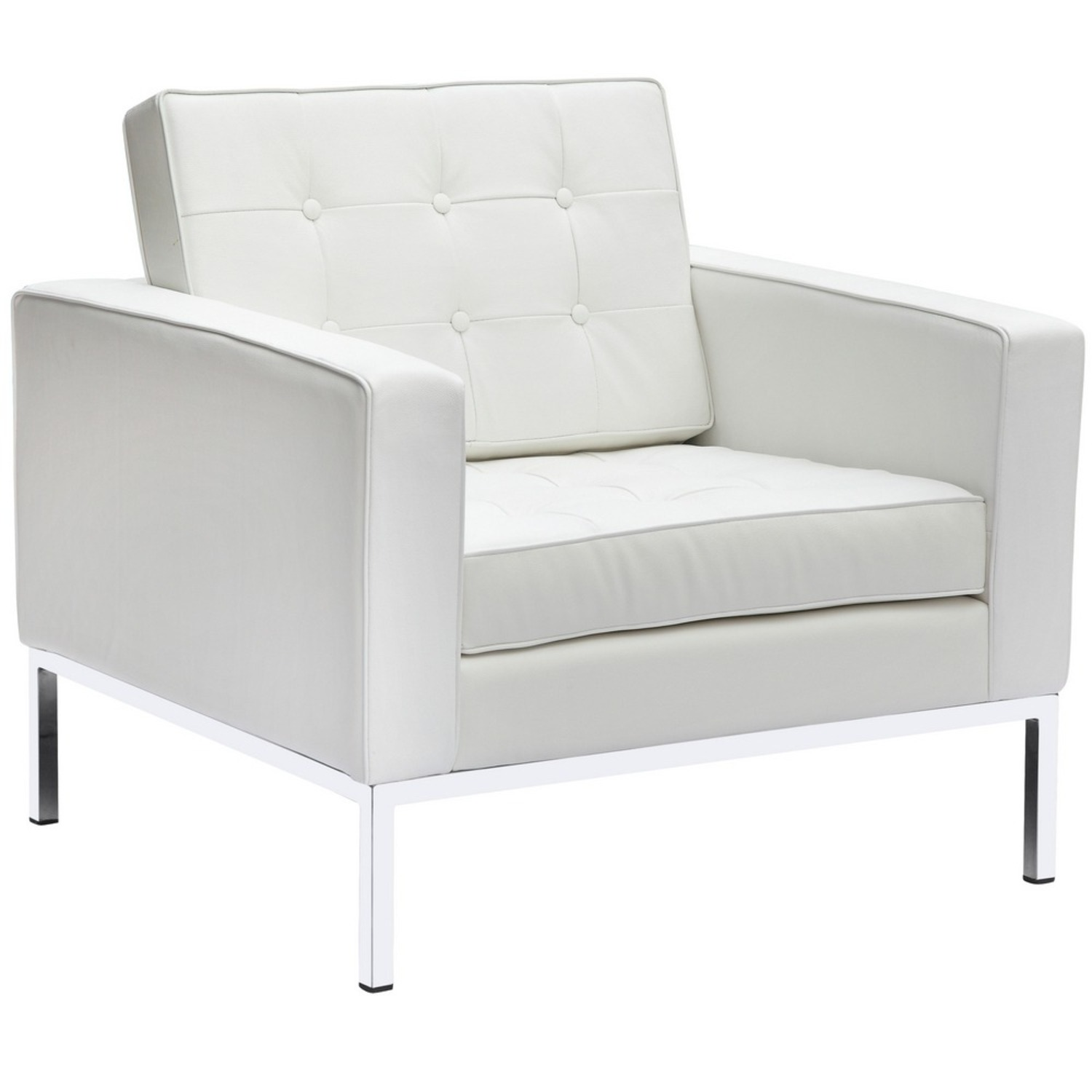 Modern Arm Chair In White Italian Leather - image-0