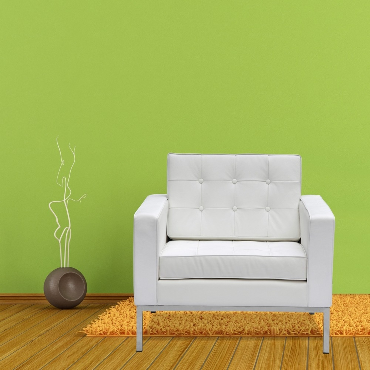 Modern Arm Chair In White Italian Leather - image-6