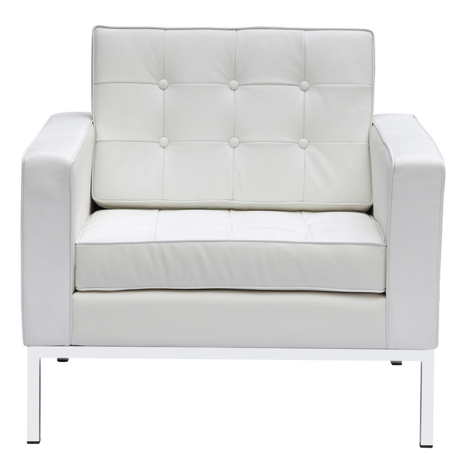 Modern Arm Chair In White Italian Leather - image-5