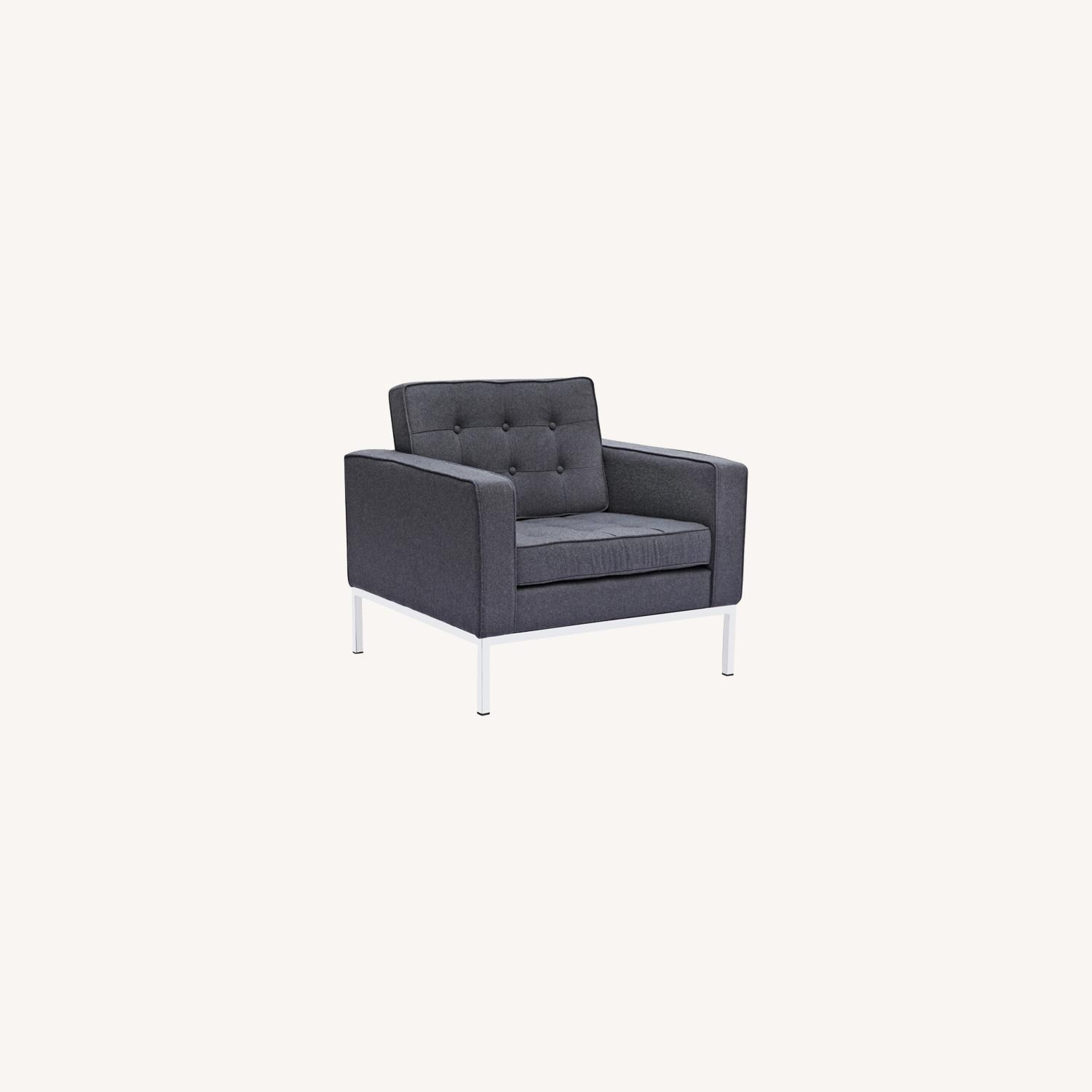 Contemporary Chair In Gray Wool Fabric - image-7