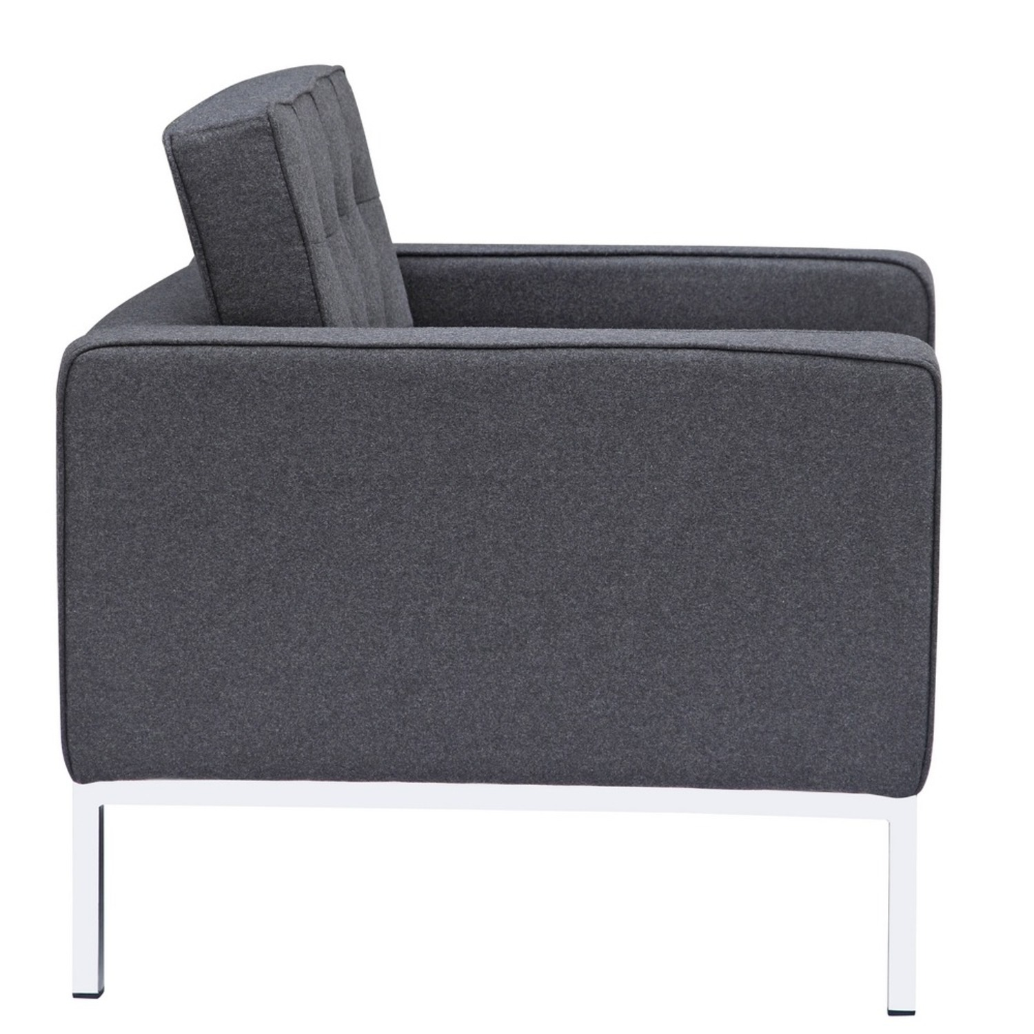 Contemporary Chair In Gray Wool Fabric - image-1