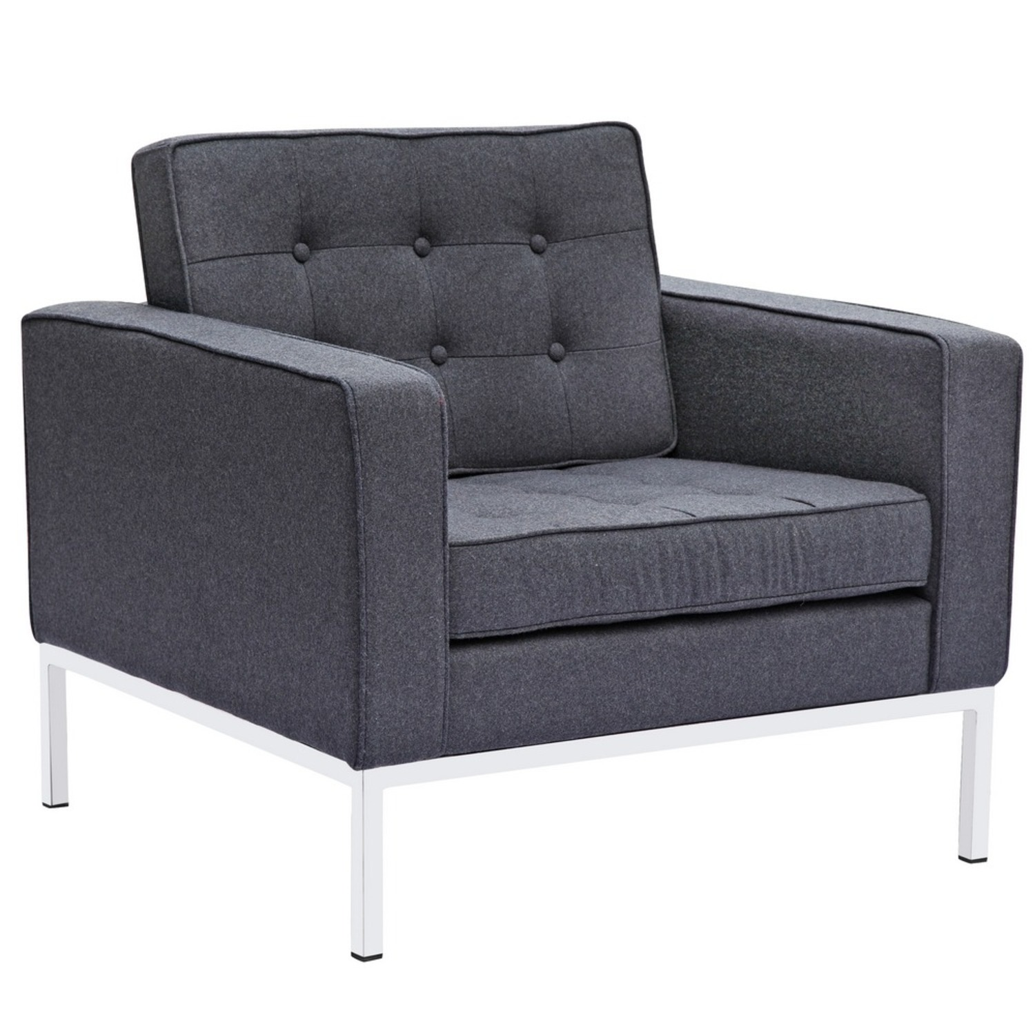 Contemporary Chair In Gray Wool Fabric - image-0