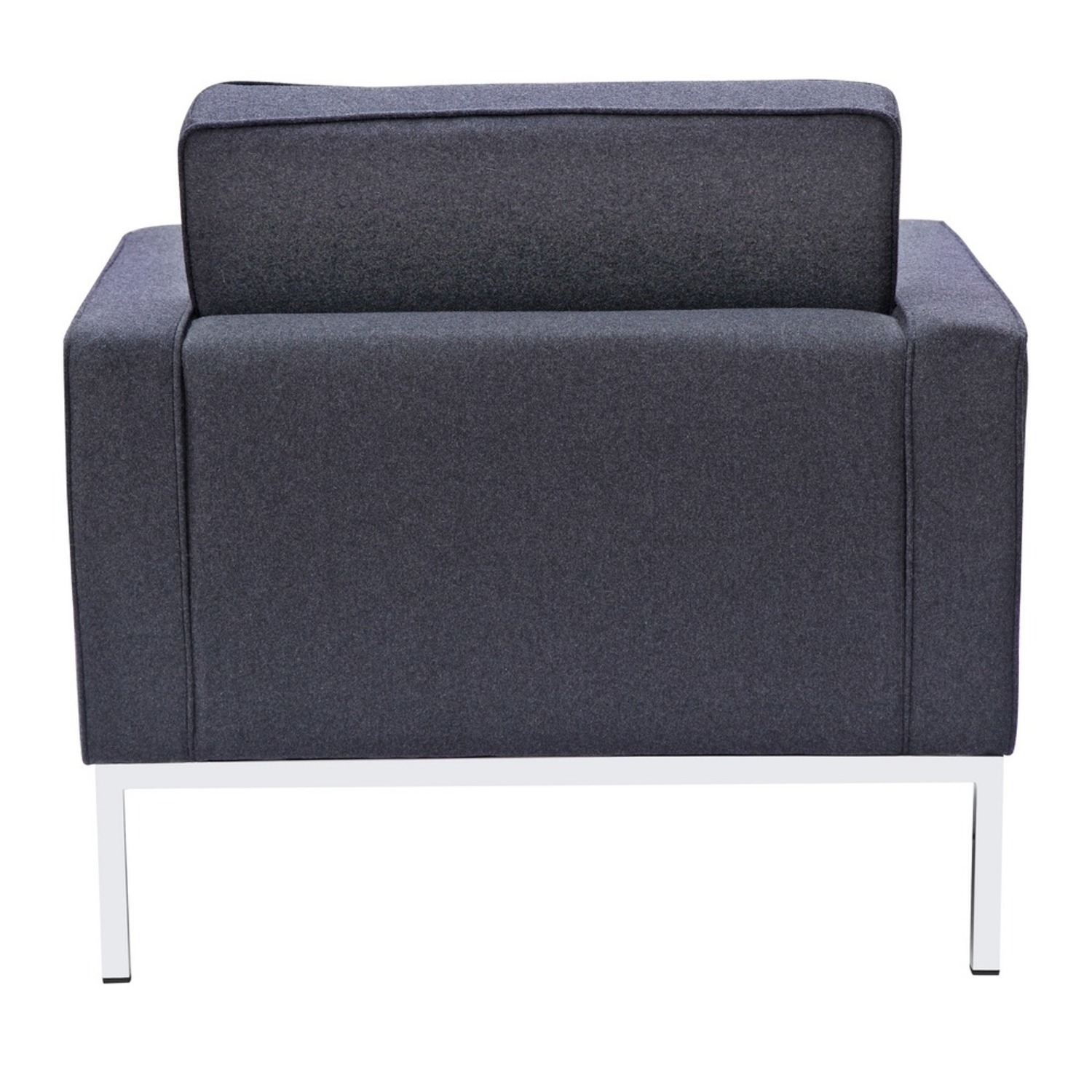 Contemporary Chair In Gray Wool Fabric - image-2