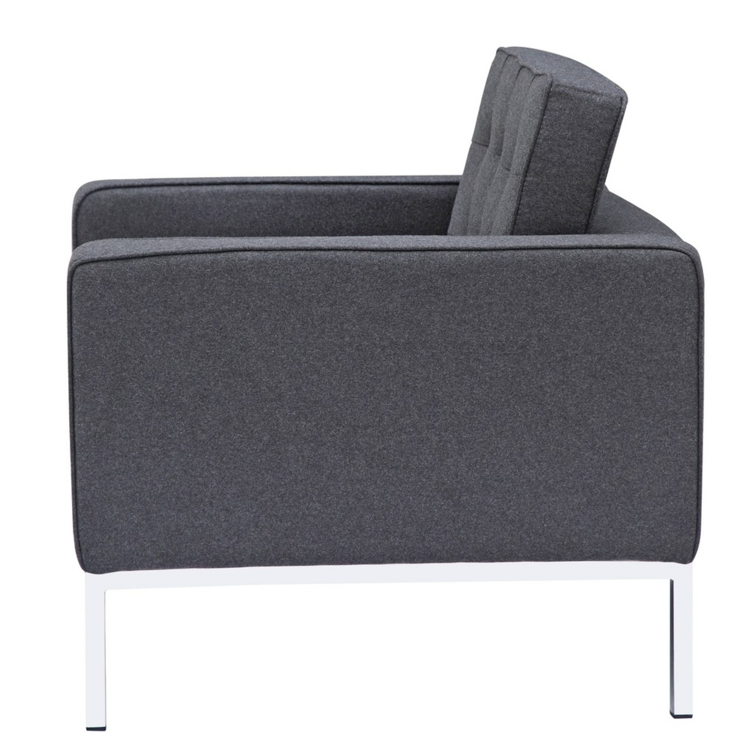 Contemporary Chair In Gray Wool Fabric - image-3