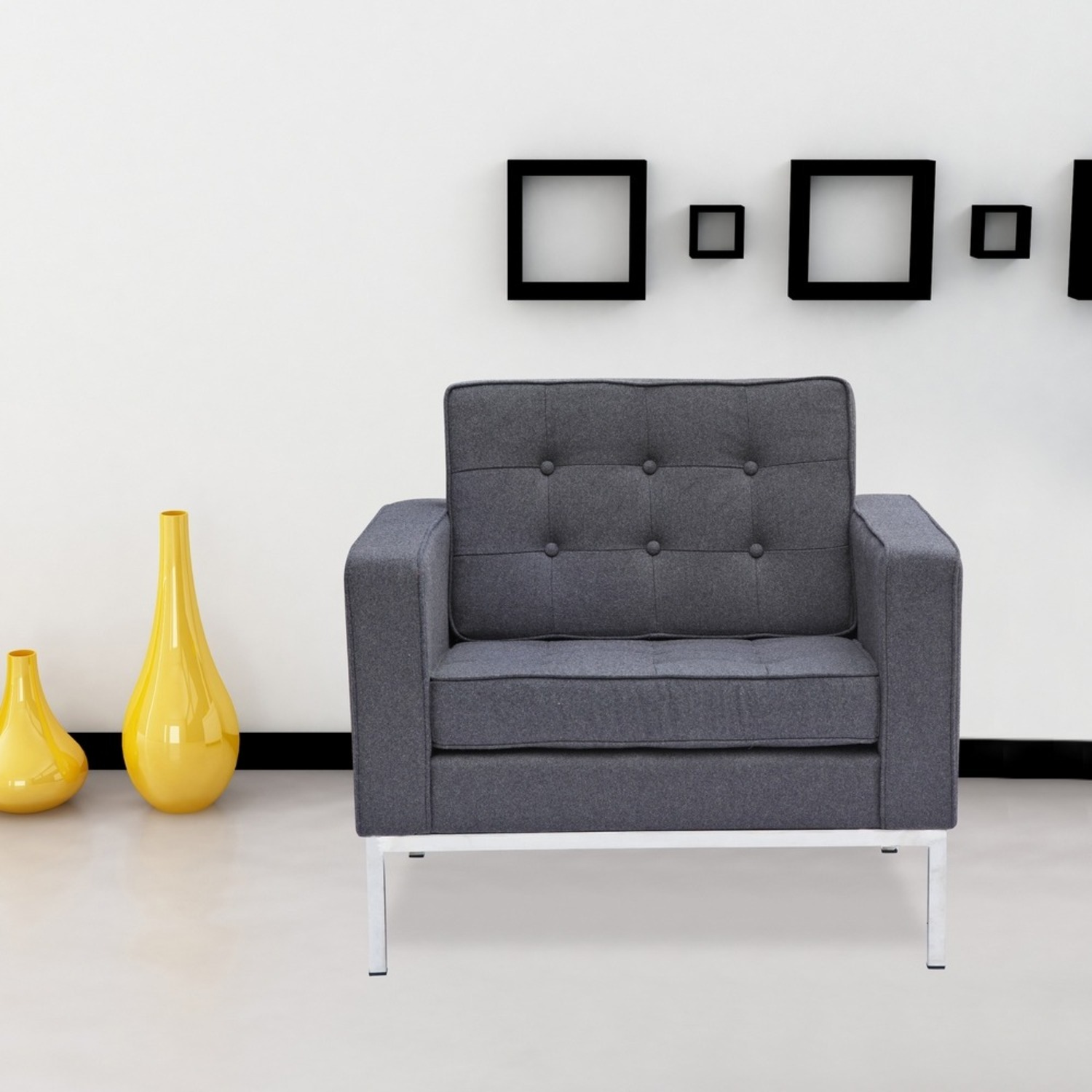 Contemporary Chair In Gray Wool Fabric - image-6